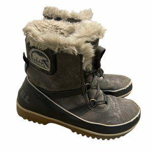 SOREL Women's Tivoli Ii Snow Boot Gray/Tan Waterproof Size 9.5 - Pre-Owned